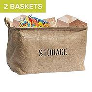 "OrganizerLogic Storage Bins (2 Baskets) - 14"" x 10.5"" x 9.5"" - Medium Jute Storage Baskets - Help You Organize Toys, Laundry, Clothes, Baby Nursery, Kids Rooms"