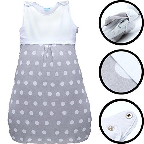 Sommerschlafsack 100% Baumwolle mit Belüftungseinsätzen Schlafsack Kind Baby (Ärmellos) (90cm, PUNKTE)