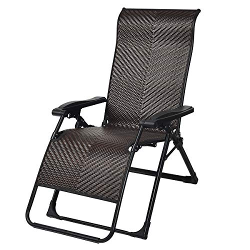 Tangkula Rattan Zero Gravity Chair, Outdoor Adjustable Folding Lounge Chair with Widened Armrest & Locking System, Heavy Duty Wicker Chaise Folding Recliner for Pool, Patio, Beach, Yard (1)
