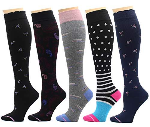 5 Pairs Dr. Motion Therapeutic Graduated 8-15mmHg Compression Women's Knee-hi Socks (J)