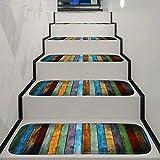 Treppenteppich Leiser Treppenteppich Buntes Hölzernes Planken-Muster Treppenhausmatten Start-Pads Schlafzimmer Anti-Rutsch-Teppich 5/10/15Stück TZXSHO (Color : Multicolor (70x22cm), Size : 5pcs)