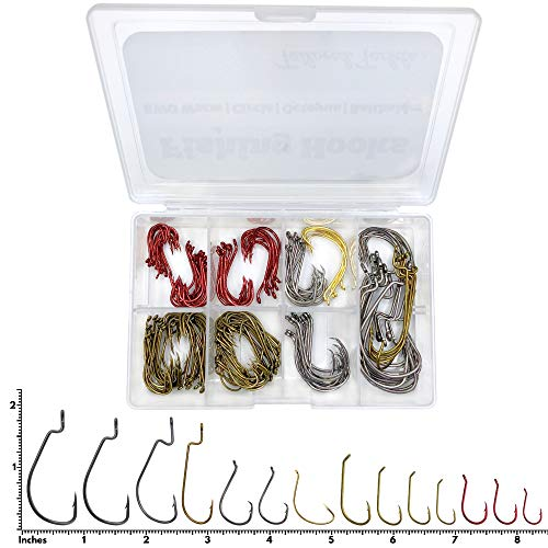 Tailored Tackle Fishing Hooks Kit 150 Pc Accessories Box | EWG Worm, Octopus, Bait Holder, Circle Fish for Freshwater Bass Trout Catfish Panfish Crappie Bluegill | Hook Supplies for Gear and Equipment