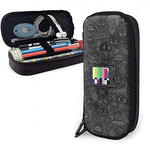 Farbfernseher in schwarz Cartoon Muster Leder Federmäppchen Tasche, große Kapazität Briefpapier Box