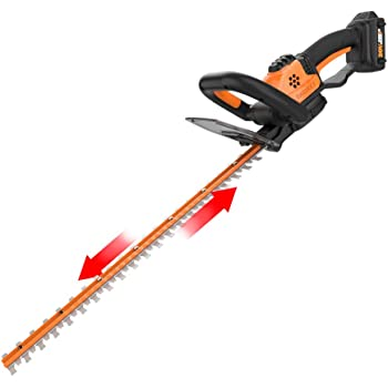 WORX WG261 20V Power Share 22-Inch Cordless Hedge Trimmer, Battery and Charger Included, Black and Orange