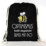Wandtattoo-Loft Rucksack Turnbeutel Optimismus heißt umgedreht Sumsi mit Po mit Bienchen – Baumwolle Tasche mit Aufdruck/schwarz