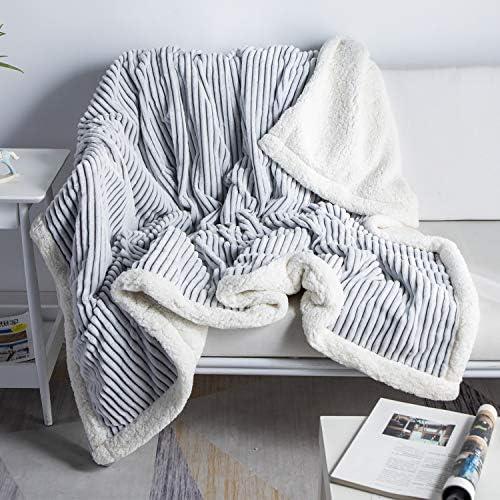 DISSA Sherpa Fleece Blanket Throw Blanket Soft Blanket Plush Fluffy Blanket Warm Cozy with Grey product image