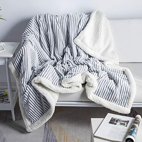 """DISSA Sherpa Fleece Blanket Reversible Sherpa Flannel Blanket Soft Fuzzy Plush Fluffy Blanket Warm Cozy with Strip Perfect Throw for All Seasons for Couch Bed Sofa Chair (Grey, 60""""x80"""")"""