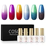 Color Changing Nail Polish Set 6Pcs Mood Gel Nail Polish Kit Fall Winter Color Collection Gift Nails Set Glitter Purple Red Yellow Blue Green Soak Off Long Lasting Gel Nails