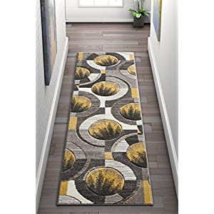 Well Woven Sunburst Blue, Light Gray, Charcoal Modern Geometric Comfy Casual Hand Carved 2×7 (2′ x 7′ Runner) Area Rug Easy to Clean Stain Fade Resistant Abstract Contemporary Thick Soft Plush