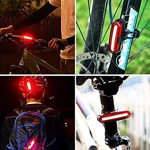 REFURBISHHOUSE Luz de Cola de Bicicleta LED Ultra Brillante, Luz Trasera de Bicicleta Recargable USB, IPX6 Impermeable y facil de Instalar luz de Casco
