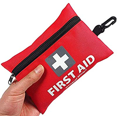 Mini First Aid Kit,92 Pieces Small First Aid Kit - Includes Emergency Foil Blanket,CPR Face Mask,Scissors for Travel, Home, Office, Vehicle,Camping, Workplace & Outdoor (Red) by HANGZHOU AOSI HEALTHCARE CO.,LTD