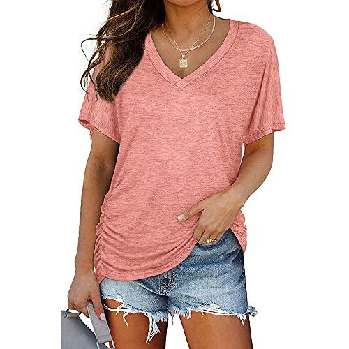 Mayntop Camiseta de verano para mujer, de manga corta, liso, plisada, suelta, con cuello en V, para mujer, A-rosa, 38