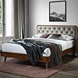 DG Casa Cassidy Mid Century Modern Upholstered Platform Bed Frame with Diamond Button Tufted Headboard and Full Wooden Slats, Box Spring Not Required - Queen Size in Gray Faux Velvet Fabric
