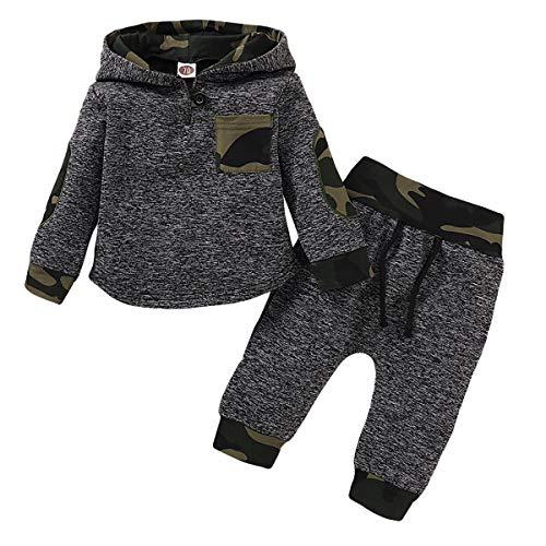 puseky Conjunto de sudadera con capucha para bebés bebés y niños pequeños sudadera con capucha de camuflaje pantalones de invierno ropa de otoño