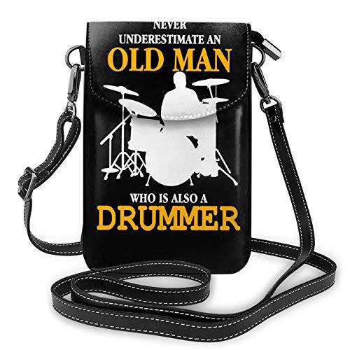 shenguang Unterschätzen Sie niemals einen alten Mann Schlagzeuger Damen Leder Kleine Handy Geldbörse Umhängetaschen Schwarz Einheitsgröße