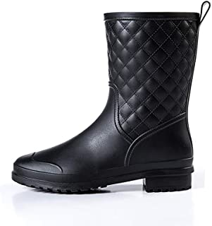 BotaLluviaMujer Altas BotaGomaBotaImpermeableBotines WellingtonBoots Exterior Zapatos Planos Antideslizante Trabajo...