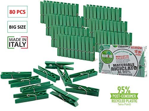 Remake Wäscheklammern (80 STK) 95% Recycelte Ökologische Kunststoff. Ideal für Wäscheleinen im Freien und Lebensmitteltaschen. Widerstandsfähig, Winddicht.