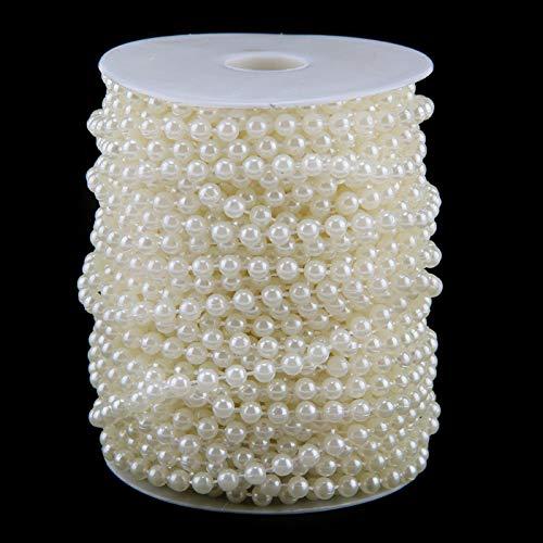 BALLSHOP 25m Artificial Pearl String Wall Decoration Hanging Rattan String Of Pearls Sewing Cake Trim Wedding Bridal Craft Trimming Milky