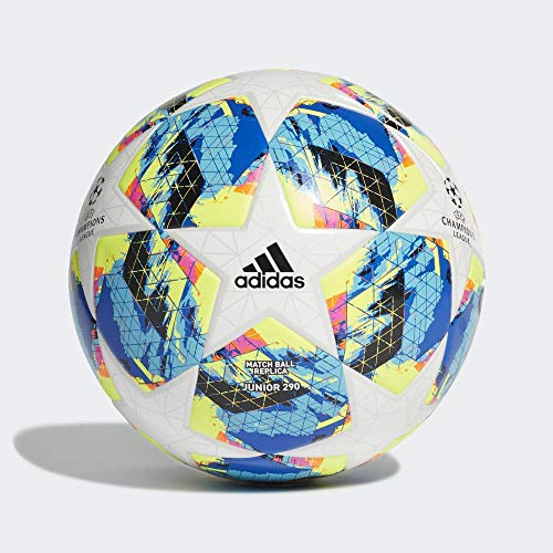 Adidas Finale TT J290, Pallone da Calcio Ragazzo, Top:White/Bright Cyan Yellow/Shock Pink Bottom:Collegiate Royal/Black/Solar Orange, 4