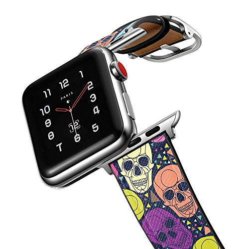 amBand Halloween Christmas Holiday Xmas Cute Band Compatible with Apple Watch Series 6 SE 42mm 44mm, Funny Festival Leather Replacement Strap Bands for iWatch 6/5/4/3/2/1 Colorful Men Women