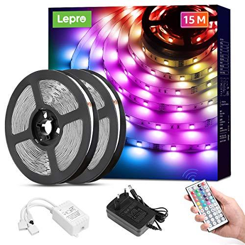 Lepro LED Strip 15M (2x7.5M), LED Streifen Lichterkette mit Fernbedienung, Band Lichter, RGB Dimmbar Lichtleiste Light, Lichtband Leiste, Bunt Kette Stripe für Party Weihnachten Deko