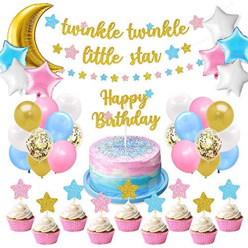 """AYUQI Geburtstagsdeko Mädchen, Happy Birthday Girlande Ballons Banner Set mit Geburtstag Dekoration, """"Twinkle Twinkle Little Star"""" Banner Kleiner Stern Cupcake Banner Konfetti Luftballons für Mädchen"""
