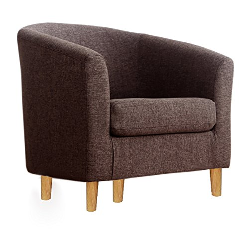 WarmieHomy Occasional Linen Fabric Tub Chair Armchair for Bedroom Living Room Office Lounge Reception (Brown)