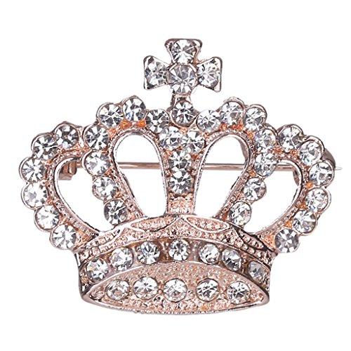 SimpleLife Crown Broches y alfileres- Estilo Rhinestone Broche Diseño de Corona Brillo de Cristal Lleno para Mujeres y niñas Idea de Regalo