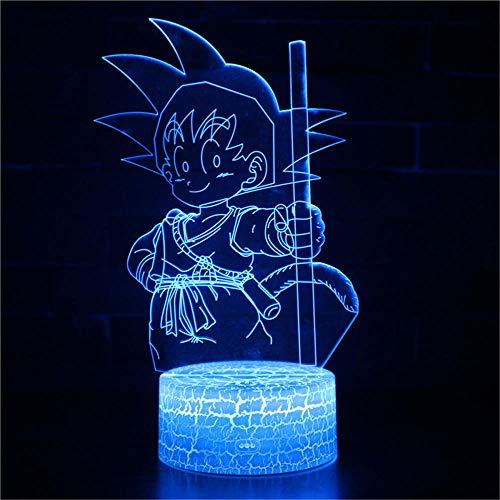 Dragon Ball SUN Luz Nocturna 3D 3d lámpara de Luna Lampara Lámpara De Mesa De Escritorio Nocturno 7 Cambio De Color Linterna Controlador Usb Juguete Regalo Para Niños