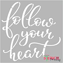 Museum Grade Ultra Thick Clear Color Material Inspirational Stencil - Follow Your Heart DIY Typography Art Template-XS (7
