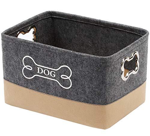 Geyecete- Fieltro Cestas de almacenamiento de juguetes para perros ,caja de juguetes para perros grande con mango de metal diseñado forma de hueso,Cesta de regalo- Gris/Caqui