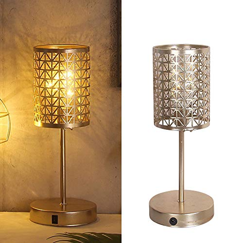 Decorative Table Lamp Battery Operated Lights for Bedroom Warm White Metal Cage Desk Lamp with Bulb Indoor Outdoor USB Charging Bedside and Table Lighting for Living Room Bedroom Office (Cylindrical)