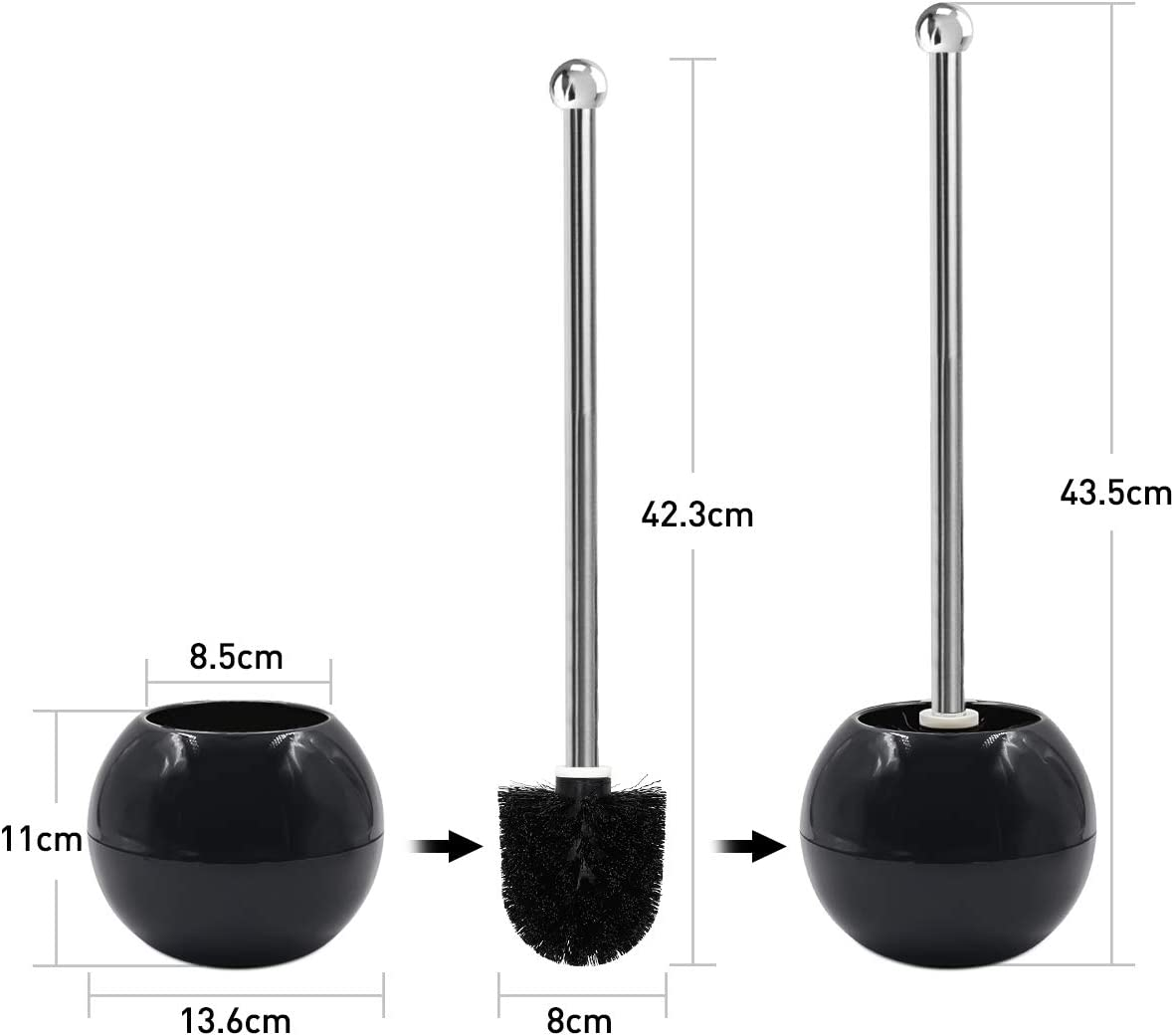 Toilet 2021new shipping free shipping Bowl Cleaner Brush and Black Bristles Holder Discount mail order Ball Cad