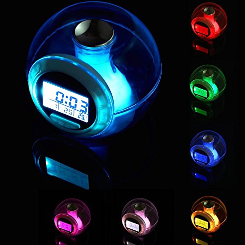 Alarm Clock,Go On 123 Wake Up Light Clock Premium Digital Display Model for Kids Child Toddler Adults, Digital Sleep Night Light with Temperature Display & Nature Sound 7 Colors Changing