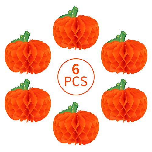 MORFONG 6 Pack Halloween Kürbis Anhänger Waben Ball Kürbis Dekoration Papier Waben Ball Ghost Festival Dekoration Anhänger (Orange)