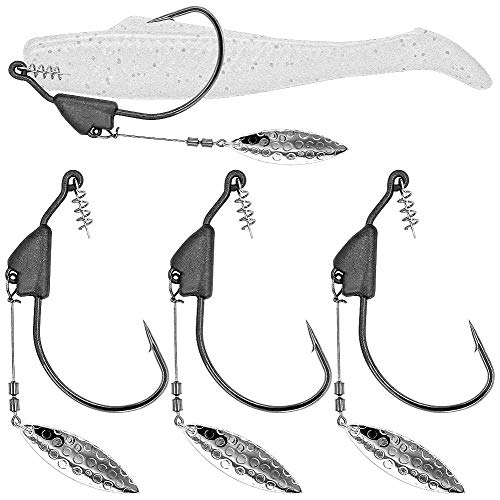 Underspin-Jig-Heads-Swimbait-Hooks-with-Spinner Blades Weighted Fishing Hooks 6 Pack (Silver, Size 1/0,1/8oz 3.5g, 6-Pack)