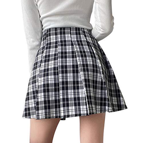 Falda plisada para mujer, de cintura alta, Boho Floral A Line Midi Skater falda, encaje corto acampanado gótico Skrits Harajuku E-Girl Punk Y2K Plaid Skirt