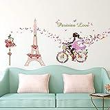 ufengke Pegatinas de Pared Niña Bicicleta Vinilos Adhesivos Pared Flores Torre Eiffel Decorativos para Dormitorio Habitación Infantiles