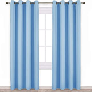 NICETOWN Sky Blue Blackout Curtains - Home Decor Window Treatment Ring Top Blackout Draperies Curtains for Living Room (2 Panels, 52 by 84, Blue)