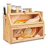 Leader Accessories Canasta de pan de 2 capas, caja de pan y pastel de bambú natural, caja de pan con tapa frontal abatible, 2 capas, 50 * 35 * 25 cm