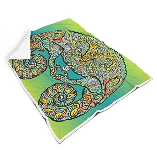 O5KFD&8 Fledermausdecke Lizard Themen Drucken Prämie Universal Wirft Robe - Lizard Winter Passt Wintergeschenk Verwenden White 150x200cm