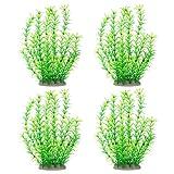 4 Piezas Plantas Artificiales de Acuario, Plantas Artificiales Decoración de Acuarios, Decoración de Peceras, Plantas de Plástico de Tanques de Peces, Seguras para Todos los Peces y Mascotas(Verde)