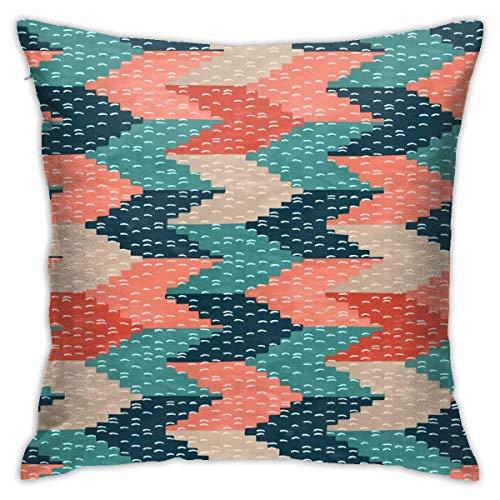 Hdadwy Kilim Weaving Structure Pern Green Floor Pillow Funda de Almohada Cuadrada Throw Pillow Edredón Manta Cojín para sofá Cojín para Coche Decoración (45cmx45cm)