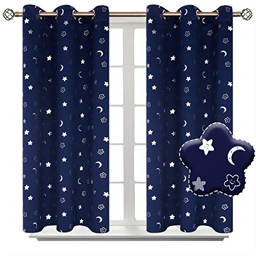 BGment Moon and Stars Blackout Curtains for Boys Bedroom, Grommet Thermal Insulated Room Darkening Printed Kids Curtains, 2 Panels of 42 x 45 Inch, Navy