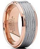 9MM Herren Rosa Ton Wolframcarbid Ring Verlobungsringe Trauringe Hochzeitsband abgeschrägte kanten mit Satinstreifen Größe 60
