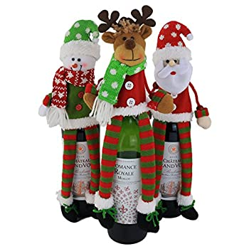 WEWILL 3Pcs Christmas Wine Bottle Cover 3D Sweater Design Set of 3 Santa Reindeer Snowman Xmas Home Party Decoration for Family 14 inch