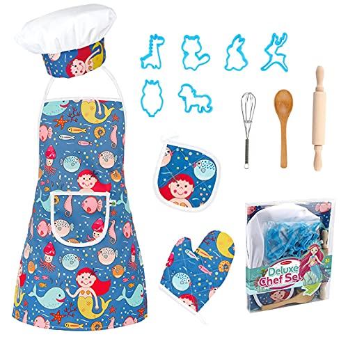 Hangarone Set de cocina de chef, juego de cocina y horneado, delantales a medida, 13 piezas, juego de cocina para niños a partir de 5 – 12 como regalo de cocina infantil (reutilizable)