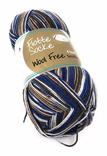 Flotte Socke Wool Free Smilla Neu Rellana 100 Gr. für Wollalleriker Geeignet,(Ohne Wolle),4-fädig, (1385 Royal-Braun-weiß)