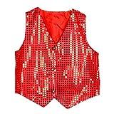 Chaleco con lentejuelas color rojo accesorio ropa brillante para ocasiones especiales talla 140 cm 8-9 años