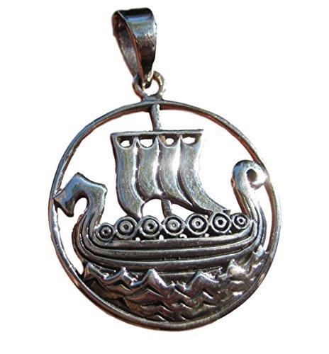 Plata de Ley 925celta Vikingo barco colgante collar Tailandia joyas Art A14